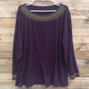 Soft Surroundings | Embellished Long Sleeve 3X